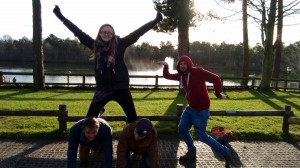 Graeme's challenge team at CenterParcs making a human pyramid